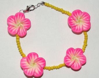 Tropical Floral Bead Bracelet