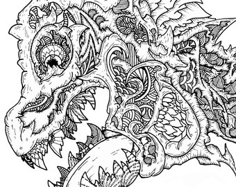 Complex coloring page, Adult/Young Adult coloring page,  Increased size, highly detailed hand drawn coloring page, Balloon!