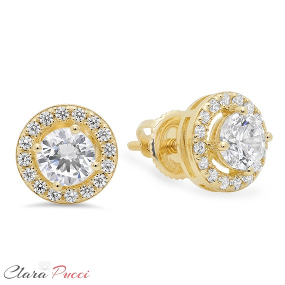 Moderate Earrings, Earrings Moderate, Bridal Earrings, 1.50 Ct Round Brilliant Cut Solitaire Halo Stud Earrings 14k Yellow Gold