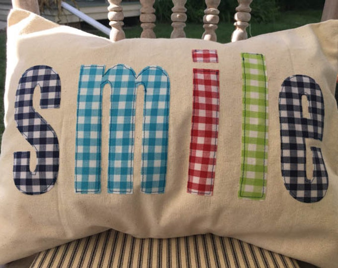 Canvas Pillow Cover with Vintage Fabric | SMILE | Farmhouse Pillow