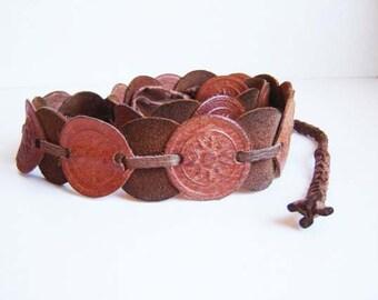 Vintage Bulgarian Interesting Brown Leather Belt, Women belt
