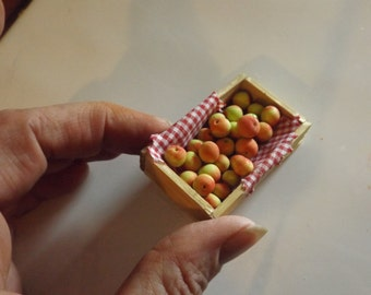 dolls house miniature create of apples, country farm, handmade, dollhouse food, one inch scale x