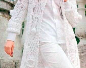 Mesdames à long crochet cardigan en blanc / custom