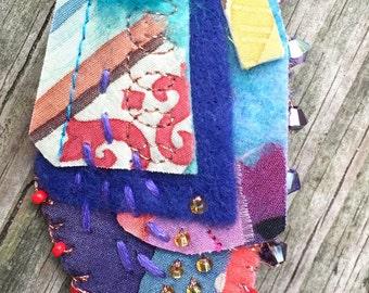 Textile Brooch Fiber Art Handpainted Silk Swarovski Crystals