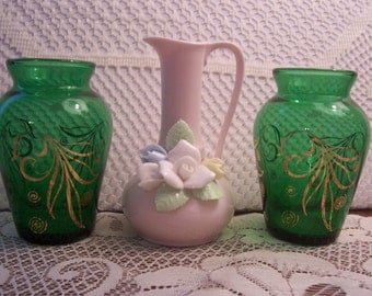 Two Forest Green Vases and Pink Pitcher