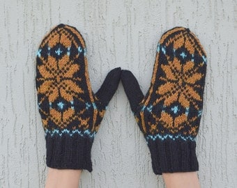 Hand knitted mittens Black brown blue wool knit mittens
