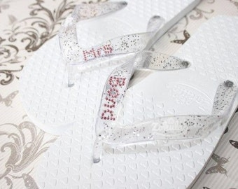 Personalised Flip Flops With Swarovski Text