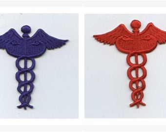 Medical Caduceus - Nursing - Iron on Applique - Embroidered Patch - RED or BLUE - 695238