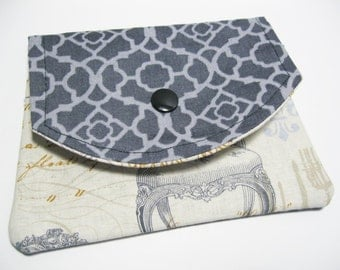 Fabric Womens Wallet, Large Cotton Fabric Wallet, Business Card Holder,  Gift Card Holder, Credit Card Holder, Gift For Her Under 20