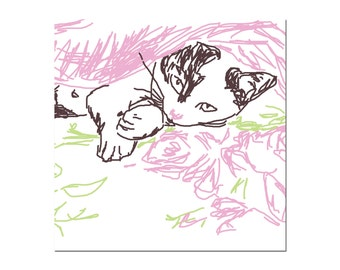 White cat greetings card