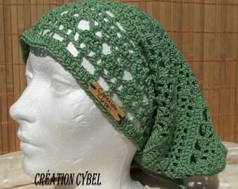 Female head scarf is hand Green
