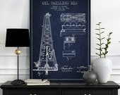 1916 Oil Drilling Rig Patent Wall Art Poster, Oil Drilling Poster, Texas Art,  Home Decor, Gift Idea, PFEN01