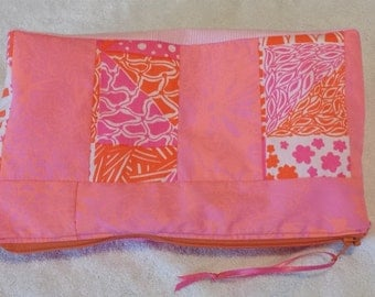 Vintage fabric Lilly Pulitzer zipper bag, lined cosmetic bag made with Lilly Pulitzer Vintage pink fabric, pink and orange Lilly bag