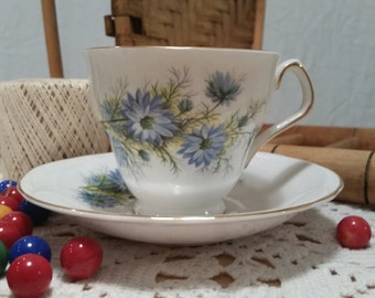 Vintage Royal Windsor Teacup and Saucer - Fabulous Blue Blossoms!