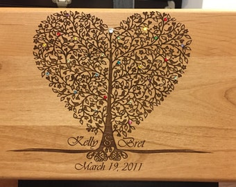Laser Engraved Wood Box That becomes a Family Heirloom - Perfect for cards at the wedding, later for jewelry and keepsakes