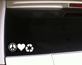 """Peace Love Recycle 7"""" Vinyl Sticker Car Decal *F48 Green Reuse Reduce Environment Pollution Earth Day"""