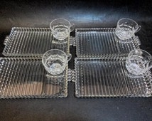 4 Hazel Atlas Glass Snack Trays with Federal Glass Cups