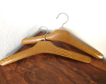 Clothes Hangers, Vintage coat hanger, leather hangers, snake print, light brown // Set of 2, Made in Germany in 1970s