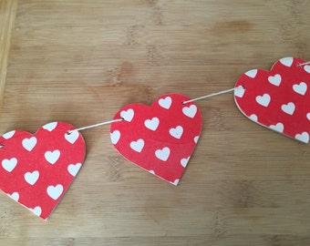 Cath Kidston Mini-Hearts Wooden Heart Garland/Bunting