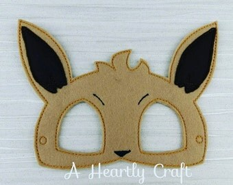 Pokemon Evie Felt Mask Fancy Dress Up Halloween Party Favor Evee inspired Photo Booth Prop Childs or Adults Mask Pokemon Birthday Party