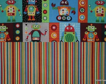 Robots Fabric Bundle Blue Green Red Gearheads Bundle Fabric By the Yard, Half, Fat Quarter Fabric Cotton Quilting Fabric BTY t6/25