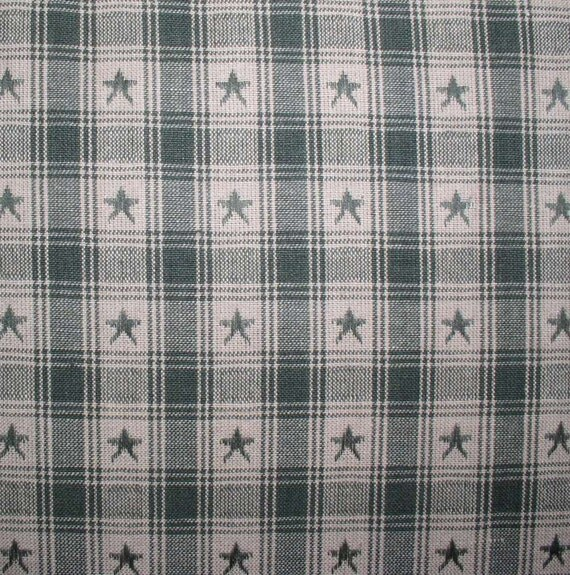 Green Star Plaid Homespun Fabric Fat Quarter Half Yard