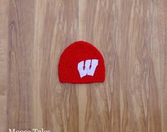Wisconsin Hat, Badger Hat, Wisconsin Badger, Wisconsin Badger Baby, Crochet Baby Hat, Baby Badger, Wisconsin Baby, WI Badgers, WI Badger Hat