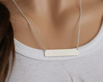 Custom Longitude Latitude Bar, Personalized Coordinate Location Necklace, Hand Stamp Pendent, Engraved Bar, Christmas Gift