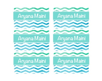 95ct Stick On Clothing Name Labels,  Kids Clothing Labels, Personalize Uniform Name Labels - Baby Clothing Water Color Chevron