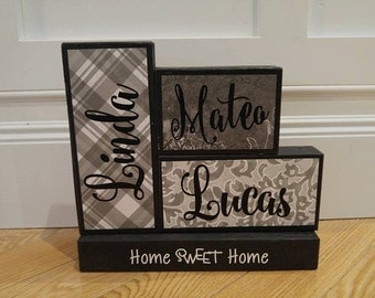 Family names blocks, home sweet home blocks with family names, wooden sign, Our family members blocks, Our family sign, Family name blocks,