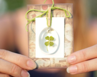 Four Leaf Clovers inlaid in Resin