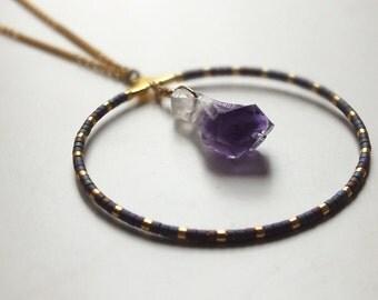 Saltire SHANA / / Golden or silver chain / / beads Miyuki / / Pierre Améthyste