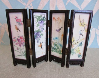 Vintage Oriental miniature reversible folding table screen, handpainted