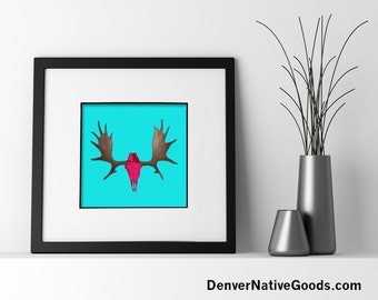 Moose Antlers & Skull Pop Art Print, Wildlife Art, Modern Animal Art