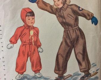Simplicity 2346 child's snowsuit & cap size 1 vintage 1940's sewing pattern