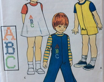 CLEARANCE!!  Butterick 5732 toddler's jumper or jumpsuit with embroidery transfers size 1 vintage 1970's sewing pattern