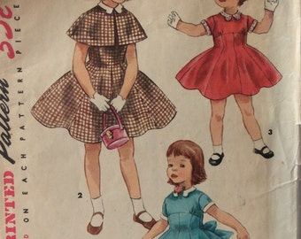Simplicity 1701 girls dress and cape size 2 vintage 1950's sewing pattern