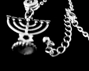 Menorah necklace Passover bracelet Jewish pride necklace