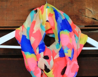 Infinity Scarf//Summer fashion//eternity scarf//fashion scarves//neon//light weight//circle scarf// ladies accessories//pretty scarf//