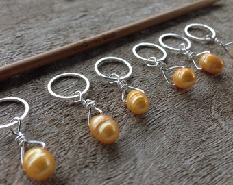 Mango Freshwater Pearl & Sterling Silver Stitch Markers for Knitting,Set of 6,Knitting Notions, Gift for Knitter