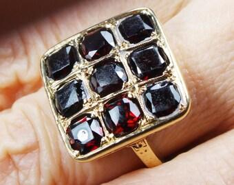 Vintage 14k Gold Garnet Ring Art Deco Ring Vintage Garnet Ring Deep Red Garnet January Birthstone Ring Circa 1930 Heavy Gold Ring Size 5 1/2