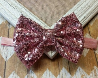 Pink sequin bow headband, pink sequin headband,  Pink Sequin Bow, Big Pink Sequin Bow Headband