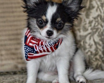 American Flag Pet Bandana || Patriotic Scarf Red White Blue || Red Polka Dot || Reversible Dog Pupdana || Puppy Gift by Three Spoiled Dogs