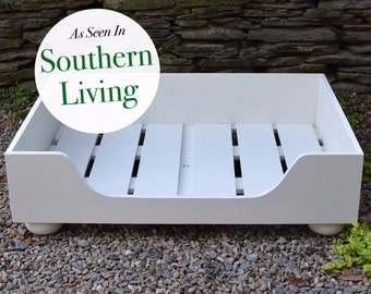 Wooden Dog Bed || As seen in Southern Living Magazine || Designer Custom Wood Bed Frame || Extra Large || NC made by Three Spoiled Dogs