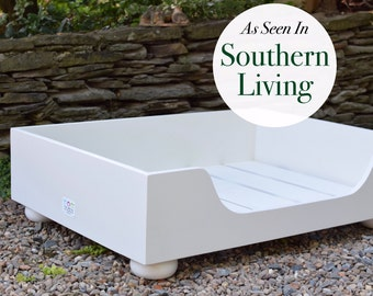 Designer Wood Dog Bed || As Seen In Southern Living Magazine || Stylish Large Custom Pet Bed || Hand Made in the USA by Three Spoiled Dogs