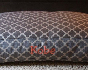 Hayden Grey Dog Bed * Large * Signature Bed * Geometric Chenille Fabric * Embroider Name * Personalize * Custom Pillow Cover * TSD