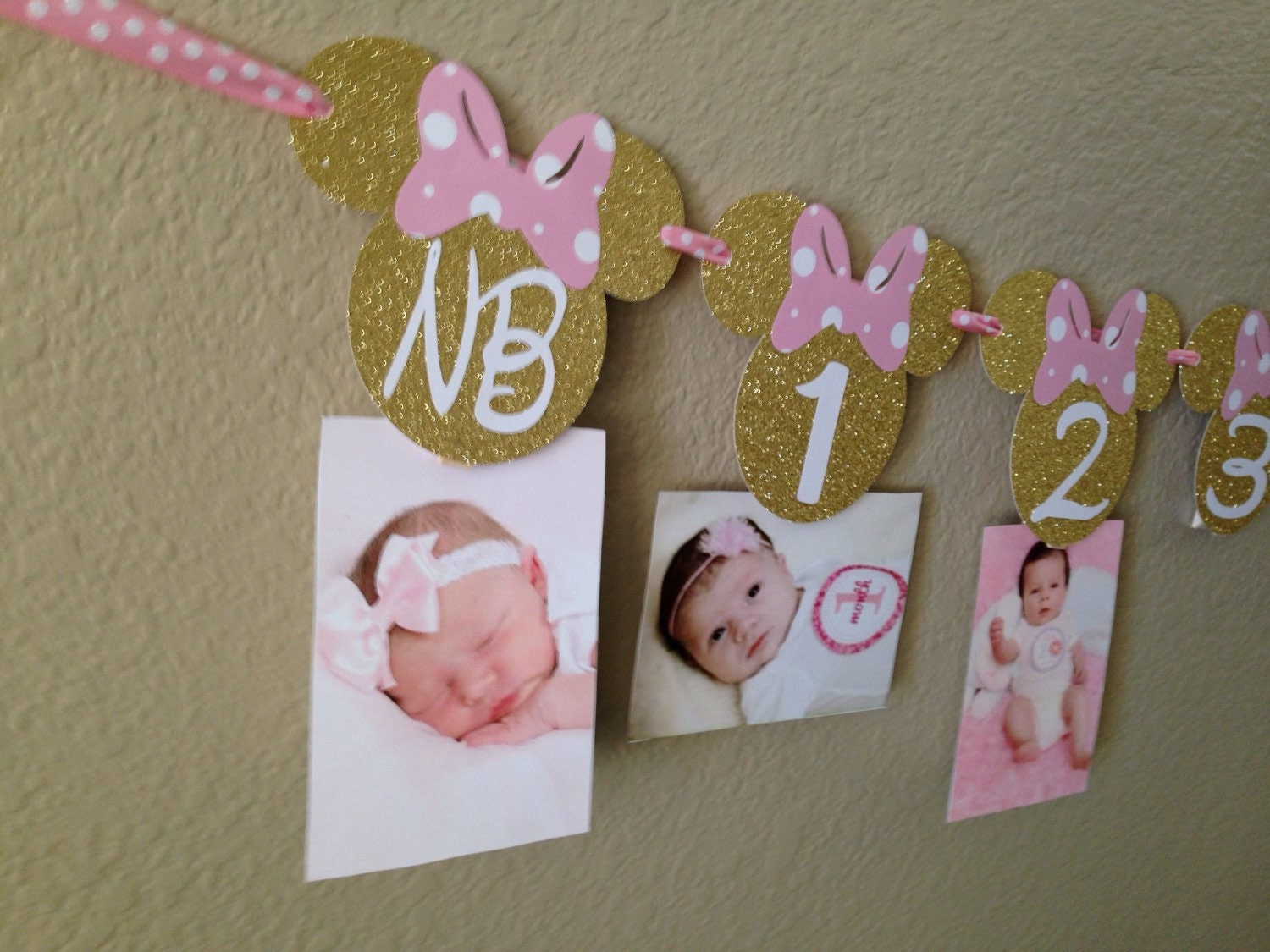 Pink And Black Minnie Mouse Decorations Minnie Mouse 12 Month Photo Banner Photo Banner Minnie