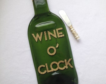 WINE O' CLOCK Melted Wine Bottle Tray Spoon Rest by The Wine Lady