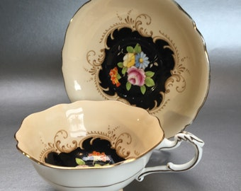 Vintage Paragon Black Floral Bone China Tea Cup and Saucer England
