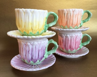 Rare 1991 Bombay Company Pottery Flower Cups and Saucers